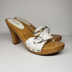 MIA Wooden White Leather High Heels Made in Brazil